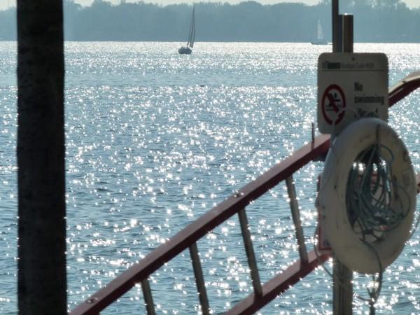 Ein Rettungsring, eine Leiter am See in Toronto.