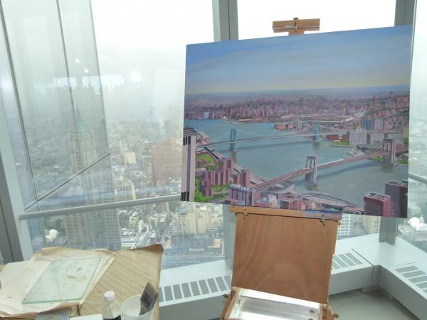 Schöne Perspektive selbst für Maler. Ein Blick auf die Brooklyn und Manhattan Bridge.