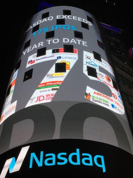 Am Times Square wirbt die Technologiebörse für sich: 175 IPOs hat sie dieses Jahr gemacht.