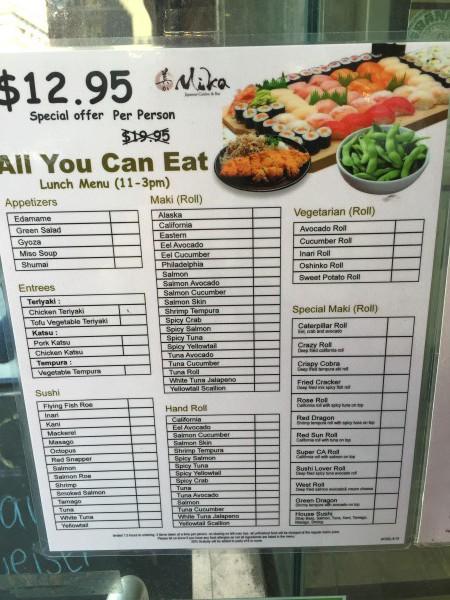 Das Mittags-Menü für endlos Sushi für 12,95 Dollar je Person. Das ist sehr günstig. Und das in Manhattan.